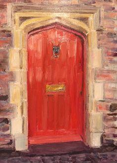 Red door in Wimbledon oil on board by Miranda Markham