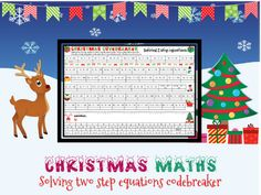 Christmas maths: solving 2 step equations codebreaker