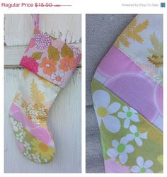 30% OFF HOLIDAY SALE- Vintage Floral Stocking -Christmas Stocking-Upcycled Bed Linens
