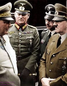 Germany's Highest ..Hermann Goering, commander of the Luftwaffe, Gen.Keitel, General in the German Army, Heinrich Himmler, leader of the SS, along with Fuhrer Adolph Hitler.