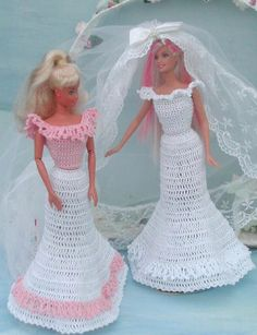 (1) CROCHET FASHION DOLL PATTERN FOR 11 1/2 & 9 1/2 Fashion Dolls such as Barbie & Skipper . This is a pattern NOT the finished product. #281 BRIDAL BOUDOIR MAGAZINE-Original Design from ICS Original Designs- Make with #10 Crochet Thread. If you would like to have the patterns