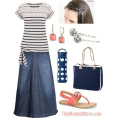 To The Park - The Modest Mom fashion A denim skirt is a good choice of skirts to wear in the spring season. Today I'm sharing with you five different ways to style a denim skirt for spring! Modesty Fashion, Fashion Outfits, Mom Fashion, Fashion Skirts, Fashion Ideas, Ladies Fashion, Fashion Hats, Fashion Trends, Modest Dresses
