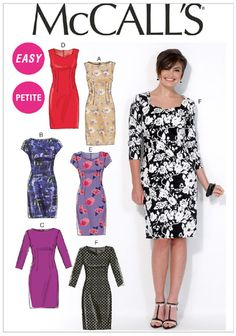 McCall's 7085 MISSES'/MISS PETITE DRESSES: Semi-fitted, lined dresses (fitted through bust) have neckline variations and back zipper. B and E: self-lined sleeves. A, E and F: back slit. C and F: unlined sleeves. SewingPatterns.com