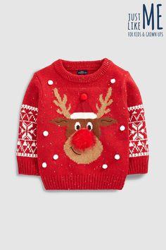 Boys Next Red Younger Kids Reindeer Snowflake Jumper - Red Crochet Animal Patterns, Baby Knitting Patterns, Free Knitting, Matching Family Christmas Sweaters, Ugly Christmas Sweater, Knitting Baby Girl, Crochet Baby, Animal Sweater, Ugly Sweater Party