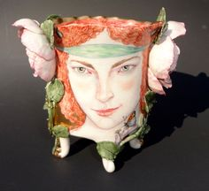 """SATYRESS VASE"" (front) by Irina Zaytceva  Handbuilt porcelain, overglaze painting, 24k gold luster 4"" x 4"" x 2"" - 'tanseycontemporary.com'<3<3<3"