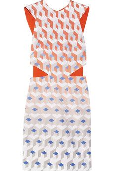 DION LEE  Element printed silk-faille dress