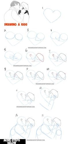 Learn How to Draw Romantic Kisses : Kissing Couples - Step by Step Drawing Tutorial by olga