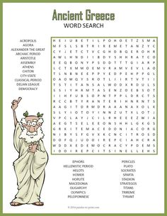 A word search puzzle featuring vocabulary words and historical figures from Ancient Greece. This would make a good activity to introduce a unit on the subject or as a handout for early finishers. Puzzlers learn vocabulary and spelling while having fun loo Ancient Greece Crafts, Ancient Greece Lessons, Ancient Greece For Kids, Ancient Greek Art, Ancient History, European History, Egyptian Art, Ancient Aliens, Ancient Rome