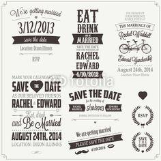 Set of wedding invitation vintage typographic design elements