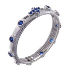 Rosary Ring AMEN rhodium-plated silver 925, blue zircons