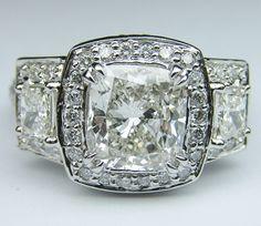 Engagement Ring - Cushion Diamond Vintage Design Halo Engagement Ring Brilliant trapezoids side stones - ES648M by Heidi-Vogel