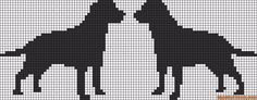 Alpha friendship bracelet pattern added by puppydog. dogs together cute labrador retriever animal standing silhouette. Cat Cross Stitches, Cross Stitch Charts, Cross Stitch Patterns, Cross Stitch Alphabet, Cross Stitch Animals, Beaded Cross Stitch, Cross Stitch Embroidery, Dog Chart, Fair Isle Chart
