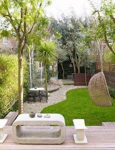 gartengestaltung kleine garten terrasse zierkies holz bodenbelag brunnen bambuspflanzen garten pinterest rooftop gardens and garden ideas - Gartengestaltung Kleine Garten