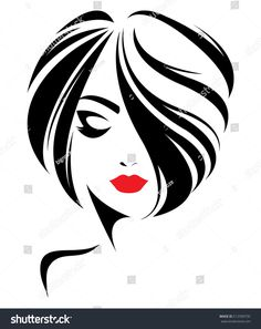 Immagini, foto stock e grafica vettoriale simili a tema illustration of women short hair style icon, logo women face on white background, vector - 512599735 Drawing Sketches, Art Drawings, Pencil Drawings, Drawing Drawing, Fashion Illustration Face, Illustration Art, Girl Sketch, Face Sketch, Silhouette Art