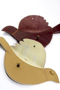 free pattern bird leather purse porte monnaie oiseau 1