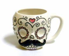 Sugar Skull with Mustache Ceramic Coffee Mug 180D http://www.amazon.com/dp/B00CEJQ80G/ref=cm_sw_r_pi_dp_MUYkvb0RR6N06
