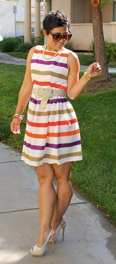 DIY Candy Colored Striped Dress + Pattern Review V8901