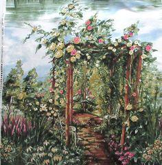 "Rose Arbor Fabric Panel - Michael Miller 3362 - Roses Garden Romance  100% Cotton -  43.5"" x 21.5"""