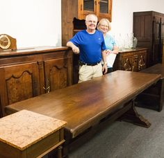 Scott & Anita scored this beautiful harvest table for only $700 at one of our French Vineyard auctions! #Vogt #Auction #antiques #harvest #table