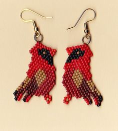 Beaded Red Cardinal Earrings by NativeWorks on Etsy, $21.00
