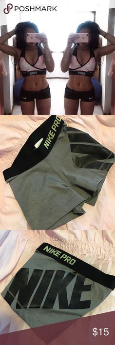 Nike Pro Compression Shorts Super rare! Brand new. Nike pro compression shorts in grey with black and green detailing. Has Nike written across the thighs. Will update a better photo soon! Nike Shorts