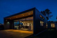 NZ Taranaki house - contemporary box - new idea of 'back porch', span of windows