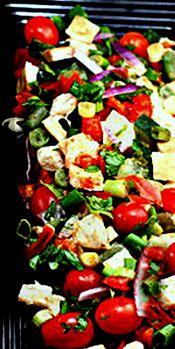 (Lebanon) - Fattoush - Toasted Garlic Pita, Vegetable and Greens Salad with a Lemony, Olive Oil Sumac Dressing.