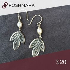 Silpada earring 925 silver French hook with pearl and dangling leaf Silpada Jewelry Earrings