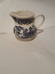 Churchill Blue Willow Creamer Pot Made in by RareEarthProducts