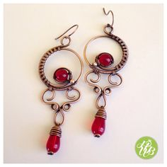 Deep red chandelier earrings - victorian jewelry - gothic earring - red hoop earrings - drop earring - copper earrings - dangle earrings