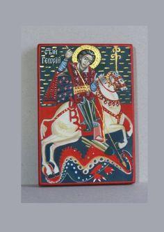 St Georgi hand painted orthodox icon, byzantine icon, orthodox icon, iconart, orhodox gifts, orthodox gift, iconography by ArtByChimevi on Etsy