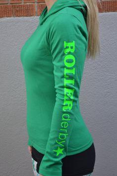 Long Sleeve Hooded Roller Derby Shirt. $25.00, via Etsy.