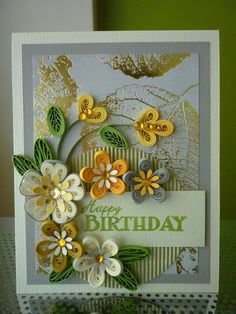 "Handmade Paper Quilling Autumn ""Happy Birthday"" Card with Amazing Flowers"
