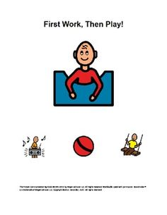 First Work, Then Play - This Work/Play Board is a great tool for students who are on the Autism Spectrum and who learn with visuals. It serves as a behavior support, helping the student to understand what is about to happen, and what will happen next.