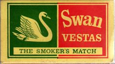 This very old match box design stands out with the colours it uses as well as the swan illustration. The use of colours being red and green, when it's always said they shouldn't be seen together, actually fit this.