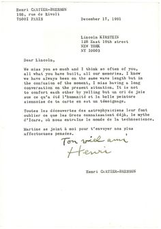 CARTIER-BRESSON, HENRI - TLS to Lincoln Kirstein about painting and artists