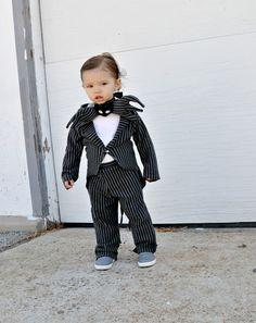 Boys babies costume Jack skellington nightmare before Christmas inspired kids toddler children infant Halloween costumes. $129.00, via Etsy.
