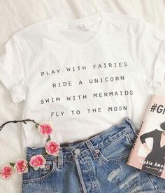 Cute White Tumblr Style Play With Fairies Ride A Unicorn Swim With Mermaids Fly To The Moon by INSTATEES on Etsy https://www.etsy.com/listing/210744952/cute-white-tumblr-style-play-with