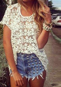 cute white floral crochet top + jean shorts