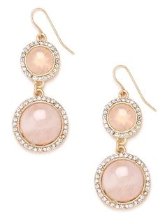 Delight in the razzle, dazzle feminine allure of these elegant drop earrings. They feature gobstopper gems — in beautiful marbled pink — that come framed in glittering crystals for added sophistication.