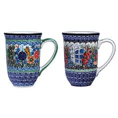 Ceramika Artystyczna Polish Pottery Bistro Mugs in Red (Set of 2)