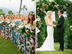 Show Me Your Mumu Owner Wedding  Dying over these printed bridesmaid dresses! So unexpected.   #MumuXWattersX100LC