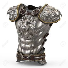Medieval armor on the body in the style of a lion with large shoulder pads on an isolated white background Stock Photo - 79732690