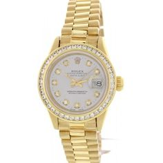 Pre-owned Rolex Oyster Perpetual DateJust 59173 18K Yellow Gold and... ($7,999) ❤ liked on Polyvore featuring jewelry, watches, 18k gold jewelry, gold jewellery, diamond watches, gold wrist watch and 18 karat gold jewelry