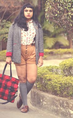 floral blouse, light weight menswear style blazer, high waist shorts in a neutral color, knee highs, menswear style shoes