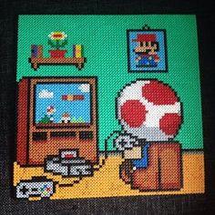 Toad plays Toad - Mario hama perler bead art by operledittemarie