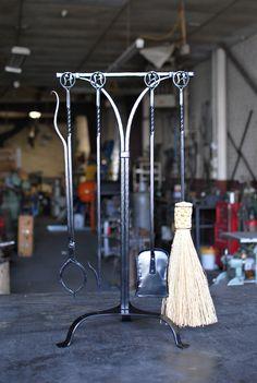 Monogrammed Fireplace Tool Set Blacksmith Forge, Blacksmith Workshop, Blacksmith Projects, Fireplace Tool Set, Fireplace Accessories, Iron Tools, Forging Metal, Custom Forge, Blacksmithing