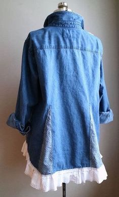 XLarge Upcycled Denim Tunic Upcycled Clothing by BentEdgeAlchemy Diy Clothing, Sewing Clothes, Second Hand Kleidung, Denim Tunic, Denim Shirts, Linen Tunic, Shirt Refashion, Upcycle Shirts, Denim Ideas