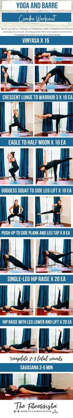 This barre and yoga combo workout combines yoga poses with barre strengthening exercises for an awesome at-home total body workout. All you need is a mat. | Total Body Workout | The Fitnessista | At Home Total Body Workout, Easy At Home Workouts, 4 Week Workout, Cardio Barre, Workout Routines For Women, Lose 20 Pounds, Yoga Videos, Yoga Fitness, Yoga Poses