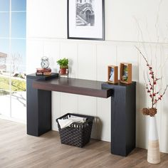 Furniture Of America Sarafina Two Tone Entry Way Table Black